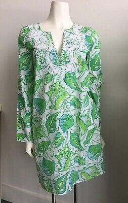 LILLY PULITZER Green Blue Shell Beach Print Embroidered Bead Cotton Dress SMALL