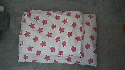 Baby Cot Bedding Duvet Cover And Pillow Pink Stars