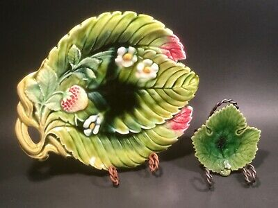 Antique Majolica Strawberry Tray and Majolica Leaf Butter Pat
