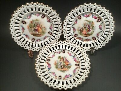 Antique German Porcelain Reticulated Butter Pats c.1890-1920