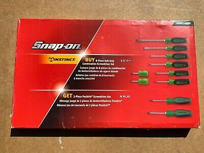 Snap On 8 Piece Soft Grip Combination Screwdriver Set Box and Storage Tray