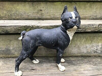 Antique CAST IRON DOG DOOR STOP BOSTON TERRIER 9""