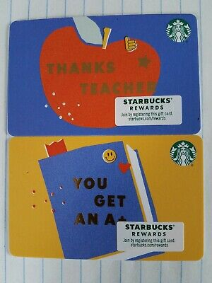 Set Of Two New Starbucks 2020 Teacher Cards.   PINs intact