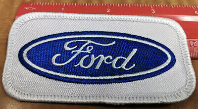 (5 - Five) Ford Blue Oval Embroidered Patches- 3 Inch Rectangle White Twill   -