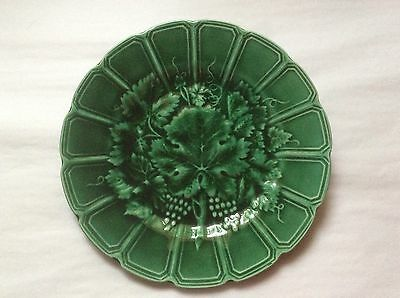 Antique French Majolica Wine Grapes & Leaves Plate