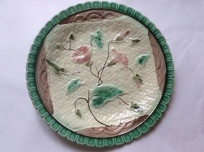 Antique Majolica Morning Glory on Napkin Plate c.1800's