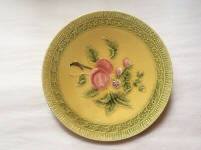 Antique German Majolica Peaches and Leaves Plate
