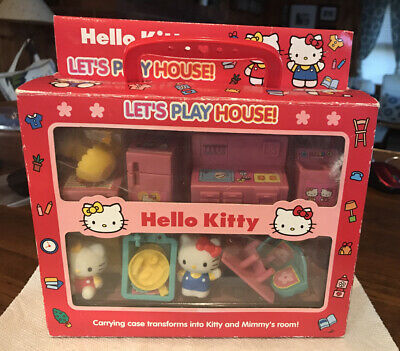 Hello Kitty Lets Play House! Play Set with Kitty & Mimmy Sanrio 2002 Carry Case