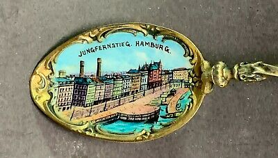 Sterling .800 Silver Souvenir Spoon-Hamburg, Germany-Jungfernstieg-Enamel Bowl