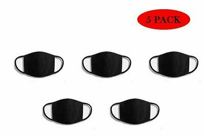 Face Mask 5 Pack Black Reusable Cover Cotton Triple Layer Washable Protection