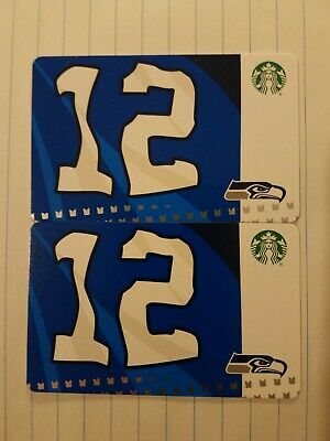 Two New Starbucks 2019 Seattle Seahawks 12s Gift Cards.  PINs Intact.