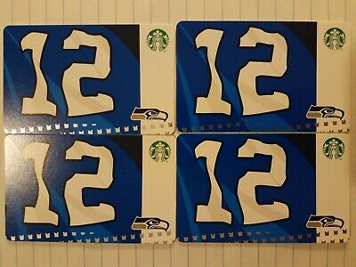 Four New Starbucks 2019 Seattle Seahawks 12s Gift Cards.  PINs Intact.
