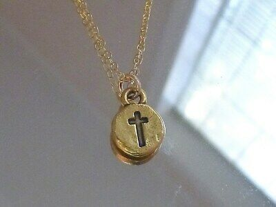 Authentic Solid  twenty Inch 14K Gold Chain with tiny byzantine stamped cross ##