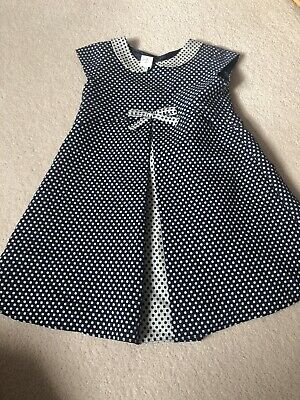 Jasper Conran Girls Navy Spotted Dress Age 3-4