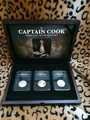 Royal Mint Captain James Cook Silver £2  Three Coin Set Series Boxed Capsules