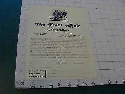 Orig. Sci Fi paper, picked up Feb 16, 1980: UNCLE The Final Affair book form