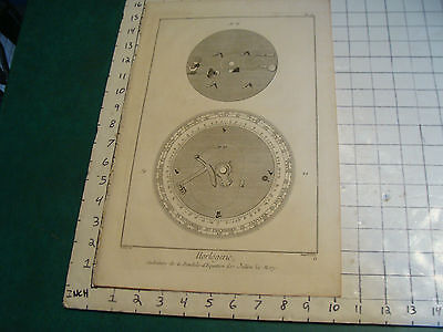 "Original engraving 1760's 10 1/2 x 16"" CADRETURE DE LA PENDULE DEQUATION DE JULI"