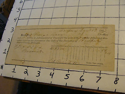 vintage paper: Tax Receipt for Monroe County Michigan, dated Dec. 28, 1867