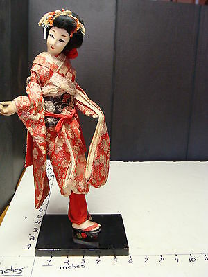 """Antique Oriental JAPANESE Doll--14 1/2"""" tall doll v beautiful outfit, big shoes"""