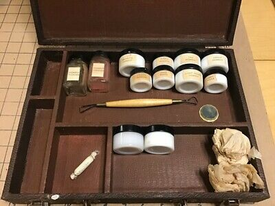 early funeral / embalming item: case w many Milk Glass Shading Jars, pigment