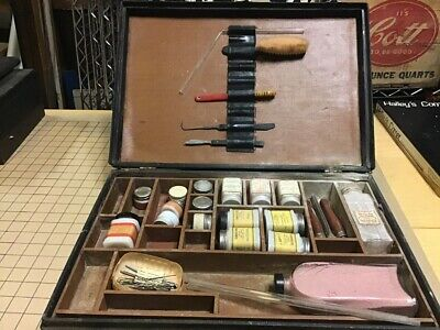 early funeral / embalming item: Big Case w Lots of Jars of Stuff & Tools, glass