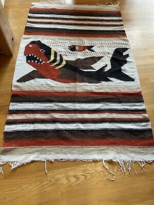 Vintage Mexican Fish Woven Falsa 77X46 Blanket/Rug/Wall Hanging