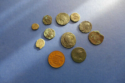 10 Uncleaned Roman Bronze Coins Dating 3rd-4th Century AD