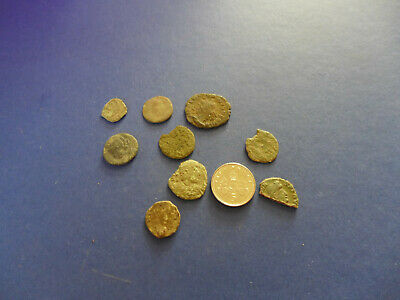 9 Uncleaned Roman Bronze Coins Dating 3rd-4th Century AD
