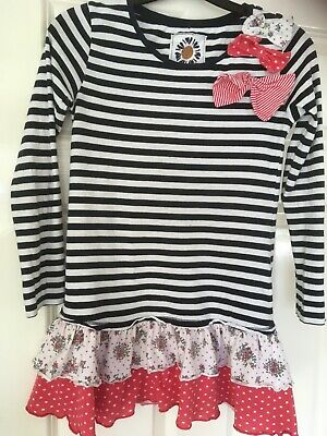 Girls NEXT striped pretty long skeeved tunic top aged 10yrs with bows& frill