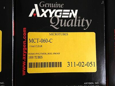 1000 -- Axygen centrifuge tube MCT-060-C 0.6ml CLEAR microtubes with FLAT CAP