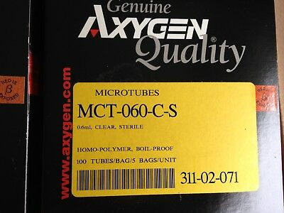 500 -- TUBES Corning Axygen MCT-060-C-S 0.6 mL Microtubes Micro-centrifuge CLEAR