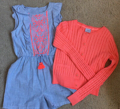 Lovely Boho Girls Playsuit With Matching Next Neon Pinky Cardigan Age 9/10/11