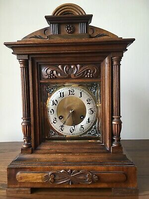 Antique Junghans Carved Oak Mantel Clock Westminster Chime Musical With Bracket