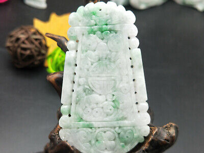 100% Exquisite Natural carved Myanmar fine emerald Ancient green brand pendant