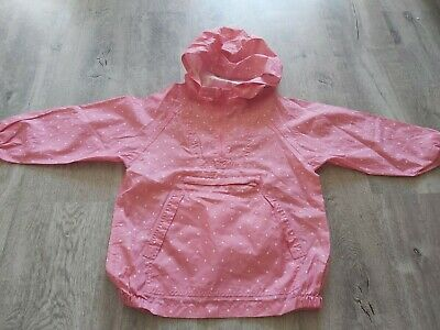 Pumpkin Patch Girls Polka Dot Pink Pocket Kagool Raincoat Age 8Yrs, Height 130Cm