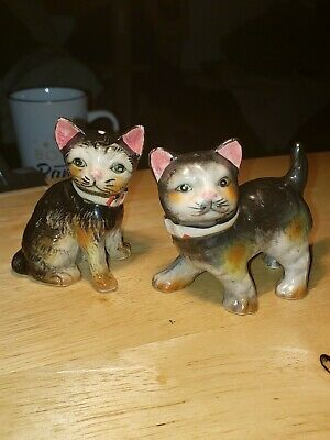 Vintage Cat Kitten Ceramic Salt & Pepper Shakers Japan pink ears Collars w Corks