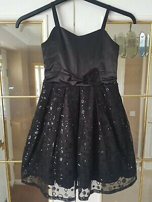 Pretty Girls Black Sparkly George Dress Age 7 - 8
