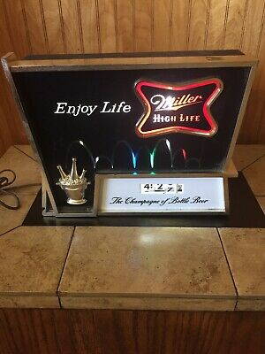 Vintage 1960's Miller High Life Beer Bouncing Ball Lighted Motion Clock Sign