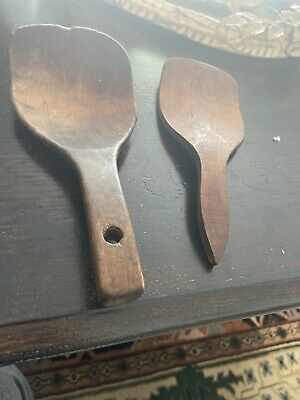 Primitive Vintage Country Antique Wooden BUTTER PADDLES Set of 2 Nice Patina