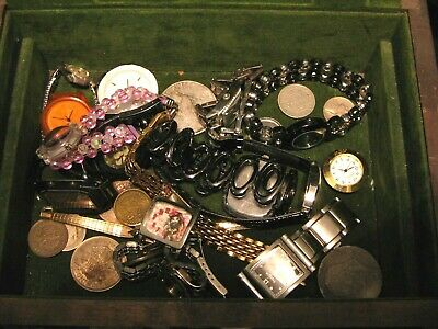 Junk Box: Old Watches, Silver Coins And Etc