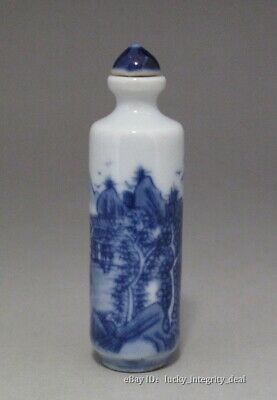 Lovely Chinese Old Blue and White landscape Porcelain Snuff Bottle