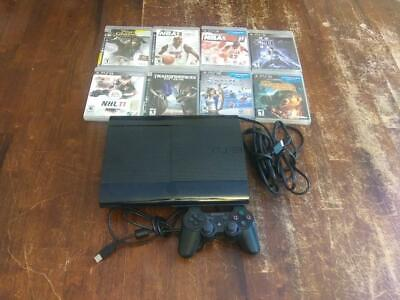 Sony Playstation PS3 Super Slim 500GB CECH-4301C Console, Controller, 8 Game Lot