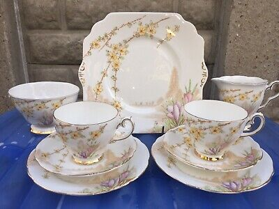 2 X GLADSTONE china TRIOS, MILK JUG/SUGAR BOWL & CAKE PLATE In CROCUS pattern.