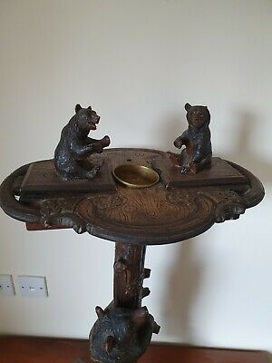 Antique Black Forest Bears - Smokers Side Table Music Box - Anderegg - Chillon