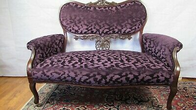 Victorian mahogany sofa  - new re upholstered  springs  luxury new fabric