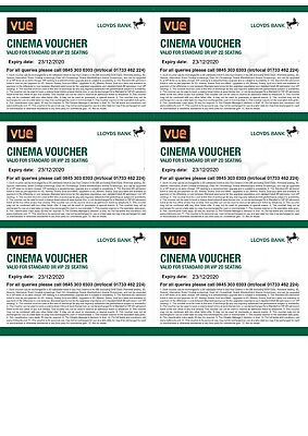 6 x Vue Cinema Vouchers (Expiry - 23/12/2020)