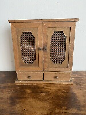 Vintage Wood And Vienna Straw Dolls Forniture Armoire Wardrobe Doll House