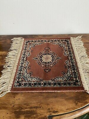 Miniature Oriental Hand Made Dolls House Rug With Fringe