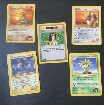 1st Edition Gym Heroes Lot! Erika 100/132 & More Pokemon Cards Vintage WotC