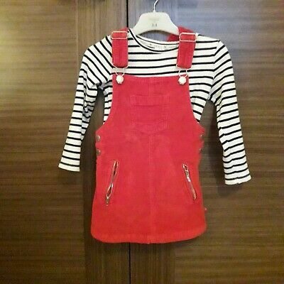 Young girls 2 piece outfit - red chord dungaree dress with top (Aged 2-3)